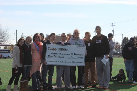 Andrew McDonough B+ Foundation helps fight childhood cancer.  Very close friends of the Care for the Cure family, the Abate's help Ryan Cranston present a $5,000 check as part of last years tournament festivities.